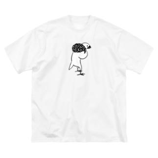 猫背のふろしき文鳥 Big silhouette T-shirts