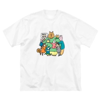 suzuharu_no_goodsのフリ〜ハグ  Big silhouette T-shirts