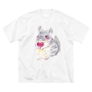 きゅんきゅんチンチラ Big silhouette T-shirts