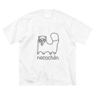 neco chan 黒 Big silhouette T-shirts