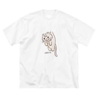 つられ猫トム Big silhouette T-shirts