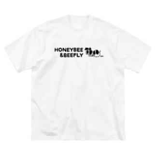 akari🌼虫デフォルメ作家のみつばち&つりあぶ 英字ロゴ【みつばち&つりあぶ】 Big silhouette T-shirts