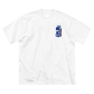 牛乳ブルー Big silhouette T-shirts