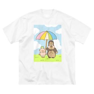 ゴリラといっしょ Big silhouette T-shirts