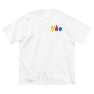 ワンポイントトリオハンドサインTシャツ Big silhouette T-shirts