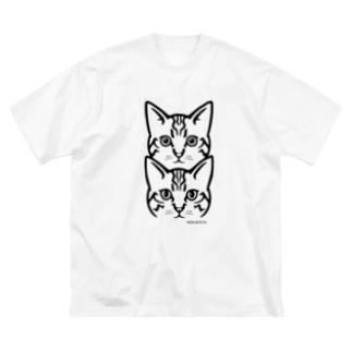 保護猫 MERU&TETO【黒プリント】 Big silhouette T-shirts