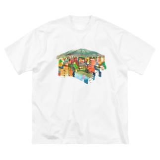 山の見えるまち Big silhouette T-shirts