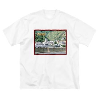 ドイツ:ライン河畔の風景写真 Germany: Riverside view of rhein Big silhouette T-shirts