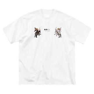 天使と悪魔 Big silhouette T-shirts