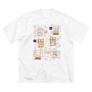 メゾン・ド・にゃんこ Big silhouette T-shirts