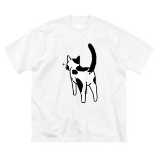 ねこけつ(ぶち猫) Big silhouette T-shirts