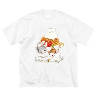にゃんこカフェ:ワッフル Big silhouette T-shirts