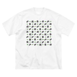 サイと草 Big silhouette T-shirts