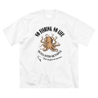 猫と釣り人のIIDAKO_EB_1CW Big silhouette T-shirts