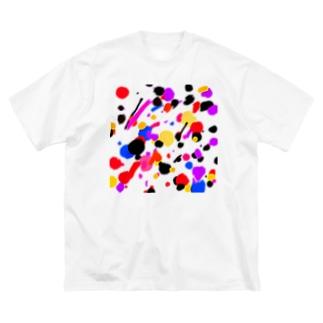 ドリッピング柄風 Big silhouette T-shirts