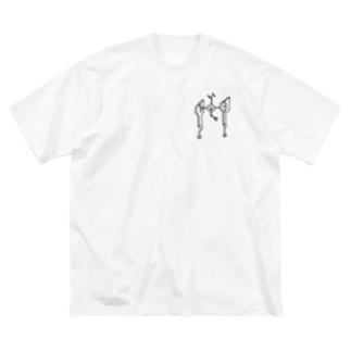 ニソクホコウ02 透過タイプ Big silhouette T-shirts
