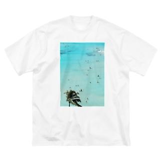 ワイキキビーチ縦 Big silhouette T-shirts