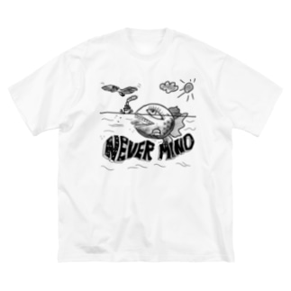 NEVER MIND Big silhouette T-shirts