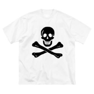 海賊旗スカル-Jolly Roger サミュエル・ベラミーの海賊旗-黒ロゴ Big silhouette T-shirts