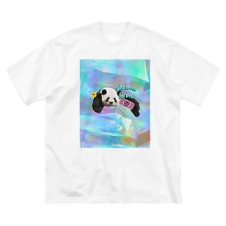 ホログラム & レトロpanda-03 Big silhouette T-shirts