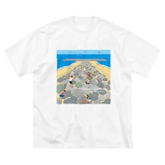 湘南ランドスケープ05:茅ケ崎ヘッドランド Big silhouette T-shirts