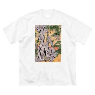 小粋な刺繍『諸国瀧廻り 下野黒山きりふりの滝』 Big silhouette T-shirts