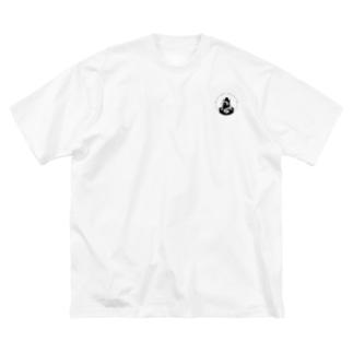 真夜ビバロゴ(黒) Big silhouette T-shirts