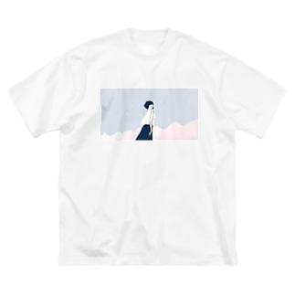 桜、空、ボブ Big silhouette T-shirts