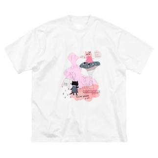 土砂降りハート(ピンク) Big silhouette T-shirts