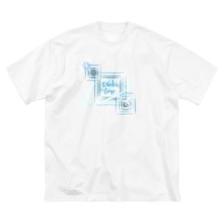 きらきらひんやり Big silhouette T-shirts