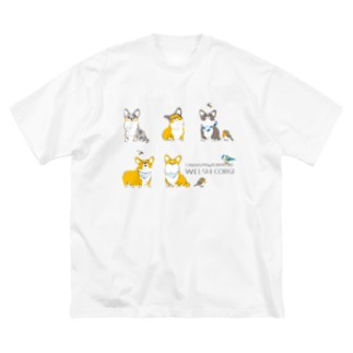 コーギーとヨーロッパコマドリとアオガラと Big silhouette T-shirts