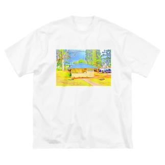 ラナイ島にある小さく可愛いBank of Hawaii(イラスト) Big silhouette T-shirts