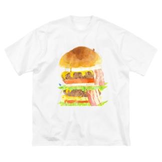 ハンバーガー登山Tシャツ Big silhouette T-shirts