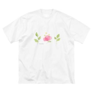 はっぱとおはな Big silhouette T-shirts