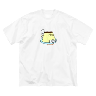 プリンくん(クリーム) Big silhouette T-shirts