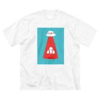 未確認Tシャツ<お買い物帰りの宇宙人> Big silhouette T-shirts