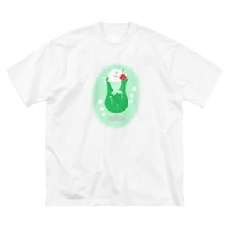 けちゃっぷごはんのメロンクリームソーダあざらし(背景あり) Big silhouette T-shirts