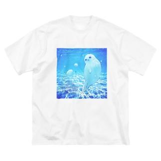 沖縄の海とアザラシ Big silhouette T-shirts