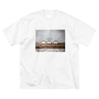 がま口ポーチならべ Big silhouette T-shirts