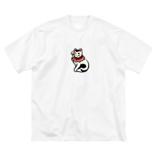 丸〆猫 Big silhouette T-shirts