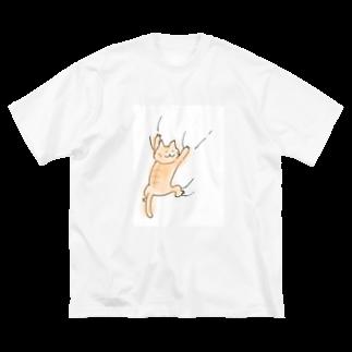 しろモフ屋のねこがしがみつくシリーズ(大) Big silhouette T-shirts
