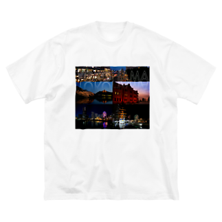 nyanbowの横浜夜景No.01 Big silhouette T-shirts