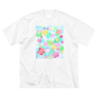 クリスタルフラワー(花柄) Big silhouette T-shirts