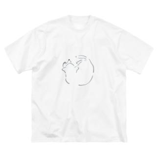 まるまるいぬ Big silhouette T-shirts