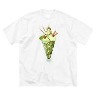キウイパフェ チョコソース Big silhouette T-shirts