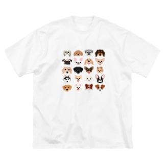 いろいろな犬種のかわいい顔 Big silhouette T-shirts