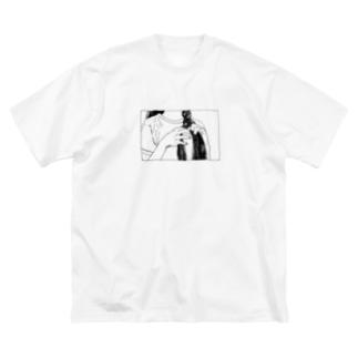 三つ編み Big silhouette T-shirts