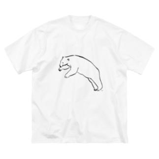 飛び込もうとしているりあるしろくま Big silhouette T-shirts