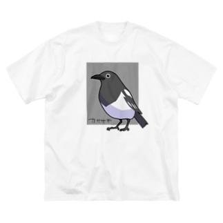 カササギくん Big silhouette T-shirts
