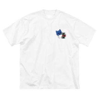 くいしん坊 マスクにゃん Big silhouette T-shirts
